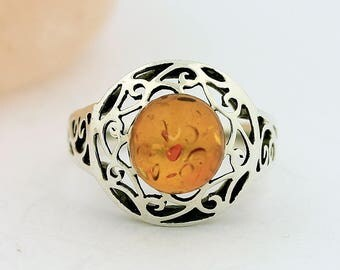 Artisan Baltic Amber Ring // 925 Sterling Silver // Ring Size 8 Jewelry