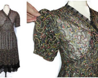 Vintage 1930s Dress Black Net Colored Floral Embroidery Sheer Net Dress Art Deco German Embroidered Dress Puffy Sleeves S