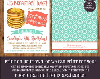 Pancakes and Pajamas birthday invitation - Pancakes and PJS invitation - Rise and Shine - Breakfast Party - Pancake invite - Item 0374
