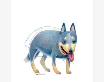 Australian Cattle Dog Art A5 Print
