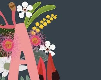 Alphabet Letter A AUSTRALIAN FLOWERS illustration printable download Australiana floral