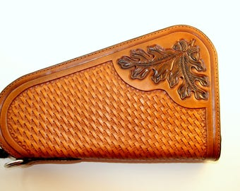 IN STOCK Leather Pistol Case with Hand Tooled Oak Leaf and Basket Weave Pattern - for Large Frame Pistols