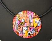 """Hundertwasser """" handgefertigte Kette aus Polymer Clay  Millefiori  bunte Häuser Halskette, Millefleur Fimo Unikat"""