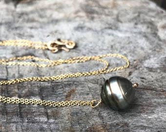Tahitian Pearl Pendant Necklace - 14k Yellow Gold Filled - Single Genuine Baroque Tahitian Pearl - Silver/Bronze Saltwater Pearl