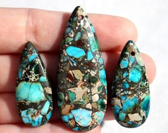 3pc Blue Pyrite pendant Set - Teardrop Pendant - Earring Pendants - Blue Gemstone - Blue Pendant- Semi Precious - #873