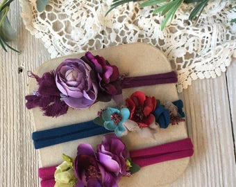 Set of THREE Stretch Headbands for Baby Girl - Newborn, Baby, Toddler, Child - Ready to Ship