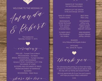 Wedding Program, Ceremony Program, Order of Events - PRINTABLE files - double-sided - violet - color of the year - Jodi
