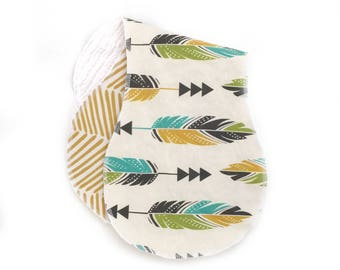 Burp Cloths Painted Feathers Set of Two. Ready to Ship. Baby Gift. Baby Shower Gift. Burp Cloth. Burp Rag. Baby Essentials.