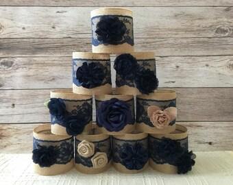 navy jar sleeves, 10 burlap rustic ball quart size jar sleeves, wedding, bridal shower, baby shower