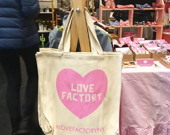 LOVE FACTORY New York pink heart logo graphic design caves tote bag natural-market tote-shopping tote-gift for her-gift for girl-silk screen