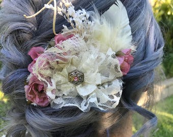 Ivory lace flower clip with dried flowers