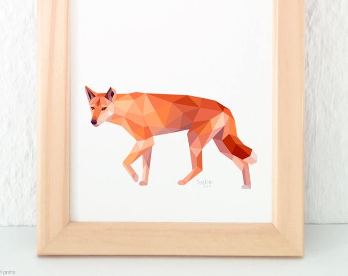Dingo print, Dingo illustration, Dingo wall decor, Native Australian animal art, Australian dingo, Orange print, Australian wildlife art