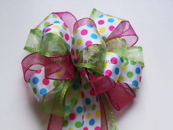 Pink green Easter Wreath Bow Multi Colored Polka Dots Birthday Party decor Blue Pink Polka Dot Shower Party Decor Bow Easter Basket Gift Bow
