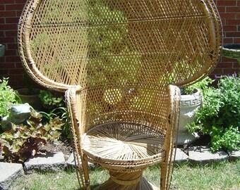 Large Tall Rattan Wicker Peacock Fan Throne Chair Bohemian Style,....  LOCAL P/U  Warren, Michigan (Detroit) OR Buyer Arranges Shipping