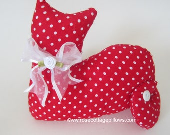 Cat Doll, Red with Polka Dots, Pillow Tuck, Cottage Chic Cat, Cat Shape Pillow, Shelf Sitter, Stuffed Cat
