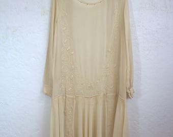 "1920's Ivory Silk Chiffon Beaded Wedding Dress / ""As Is"" / Size: 42"" Bust - 45"" Hips"