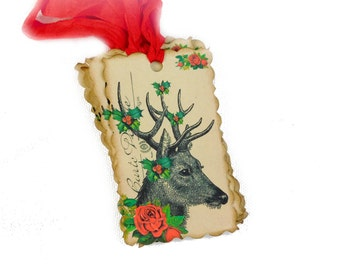 Deer Christmas Tags, Reindeer, Holly, Roses, Woodland, Red, Holiday Gift Tags, Rustic Chic Wedding, Set of 10