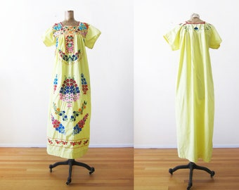 Embroidered Mexican Dress - Mexican Embroidered Maxi Dress - Yellow Mexican Dress - Mexico Clothing - Bohemian Dress - Long Hippie Dress S