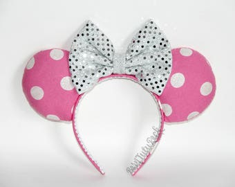 Pink and White Polka Dot Mouse Ears || by Born Tutu Rock