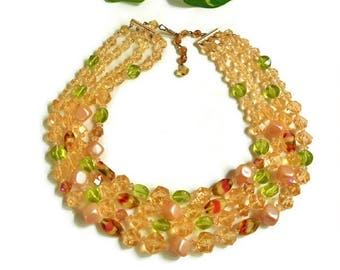 PEACH Bead Necklace Multi Strand Signed Germany Sparkly Faceted Fancy Watermelon Color Pink Green Glass, Beaded Vintage Necklace