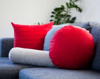 Red Round pillow, linen round pillow with insert, co sleeper pillow, pillow for floor seating, linen cosleeper, nursery room decor pillow