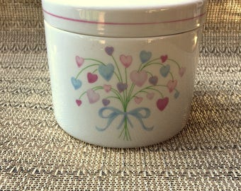 Vintage HEART Bouquet Canister / PASTEL Floral Porcelain Container By FTDA