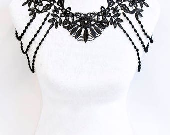 Ready to ship! Hand-made Floral black lace beaded shoulder jewelry by Selene de Viollet