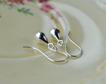 Silver Teardrop Earrings, Sterling Dangle Earrings, Modern Earrings, 925 Silver Earrings, Everyday Earrings, Wife Gift, Silver Jewellery UK