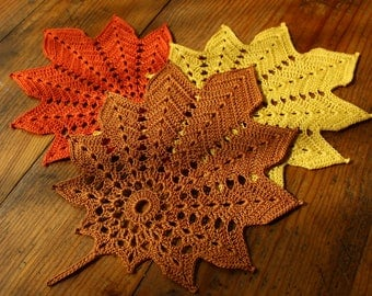Leaf Crochet Doily- Golden Brown