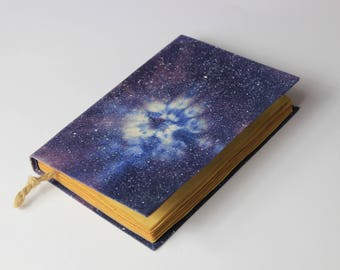 Cosmos, galaxy, handmade journal, notebook, stars, sky  old pages