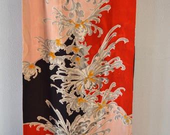 Silk scarf, vintage Japanese kimono fabric