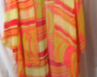 Coldwater Creek, Silk Kimono, Wrap, Cardigan, Summer, Resort Cruise Wear,  Orange Multi, Size Medium