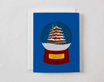 PAGODA SNOW GLOBE from Reading, Pennsylvania Greeting Card