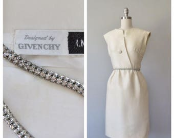 rare vintage 1960s Givenchy for I. Magnin cream silk dress with rhinestone belt size small - medium