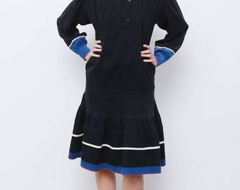 Rare Vintage 80's Kenzo Paris France Corduroy Winter Dress