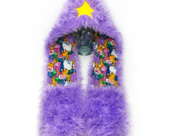CUSTOM scoodie, LSP rave hood, faux fur animal hood, hat, furry scarf, rave fluffies, LSP cosplay