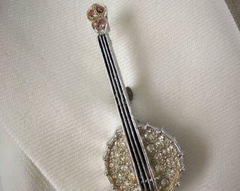 Vintage Rhinestone Studded Banjo Brooch Pin