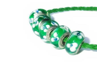 Glass Lampwork Large Hole Bead fits European Style Charm Bracelets, Rings, Necklaces, Emerald Green with White and Sapphire Blue Flowers