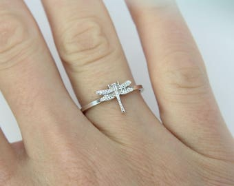 Dragonfly ring - Sterling silver ring - Stacking ring - knuckle ring - midi ring - dainty ring - dragonfly stacking ring - Stackable ring