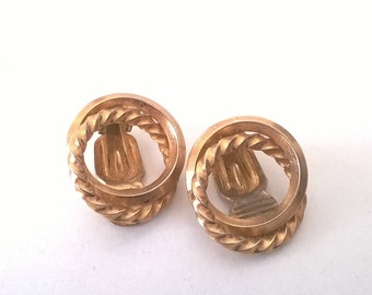 Vintage Triad Gold Clip Earrings - Round Little Clip On -   Costume Jewelry 1960s