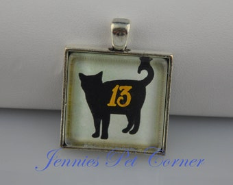 Lucky Number 13 Black Cat Necklace - Black Cat Pendant - Black Cat Jewelry - Black Cat Charm - Halloween Cat - Halloween Necklace