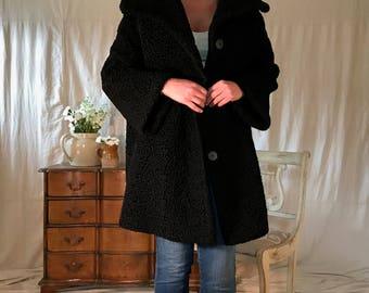 50s 60s Black Persian Lamb Coat, Winter Coat, Vintage Retro Fashion