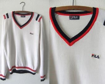 FiLA Vintage Sweater - Tennis Style Preppy V Neck Jumper - Sporty Ivy League Lightweight Knit Top - Womens Large