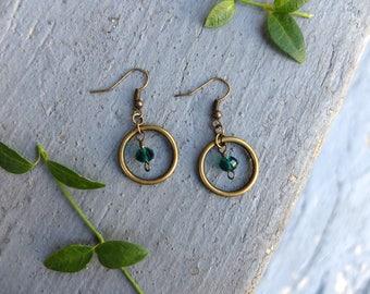 Emerald Hoop and Gem Earrings / Hoop Earrings / Gem Earrings / May Birthstone Earrings / Bronze Circle Earrings