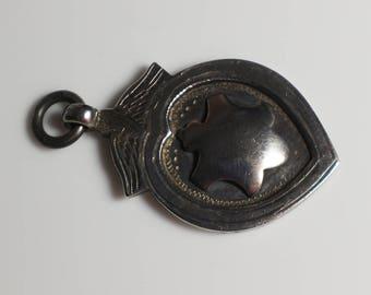 Sterling Silver Hallmarked Fob Medal Pendant Enamel Shield 1921 925 Silver