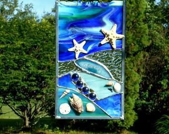 Cobalt Stained Glass Coastal Sun Catcher