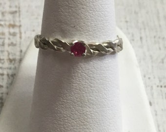Ruby Argentium Sterling Silver Ring. Size 6.5