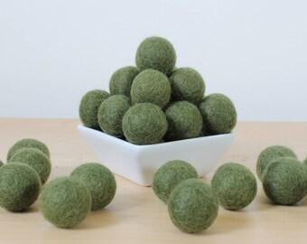 Felt Balls: OLIVE, Felted Balls, DIY Garland Kit, Wool Felt Balls, Felt Pom Pom, Handmade Felt Balls, Green Felt Balls, Green Pom Poms