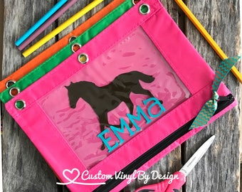 Personalized Pencil Pouch, Personalized Pencil Case, Binder Pencil Pouch, Monogram Pencil Pouch, School Supplies, Back to School, Ships Free