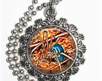 Brown & Gray Spider Art Pendant, Photo Painting Filigree Charm, Silver and Resin Necklace, YessiJewels Jewelry